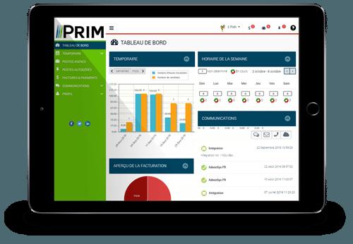 PRIM-Web Fenêtre Tableau de bord