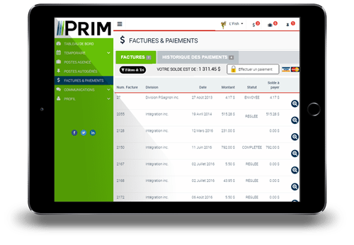 PRIM-Web Fenêtre Factures&Paiements