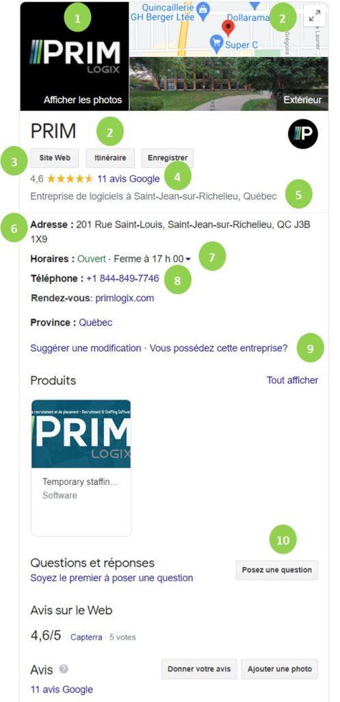 Capture d'écran de la fiche information de PRIM Logix